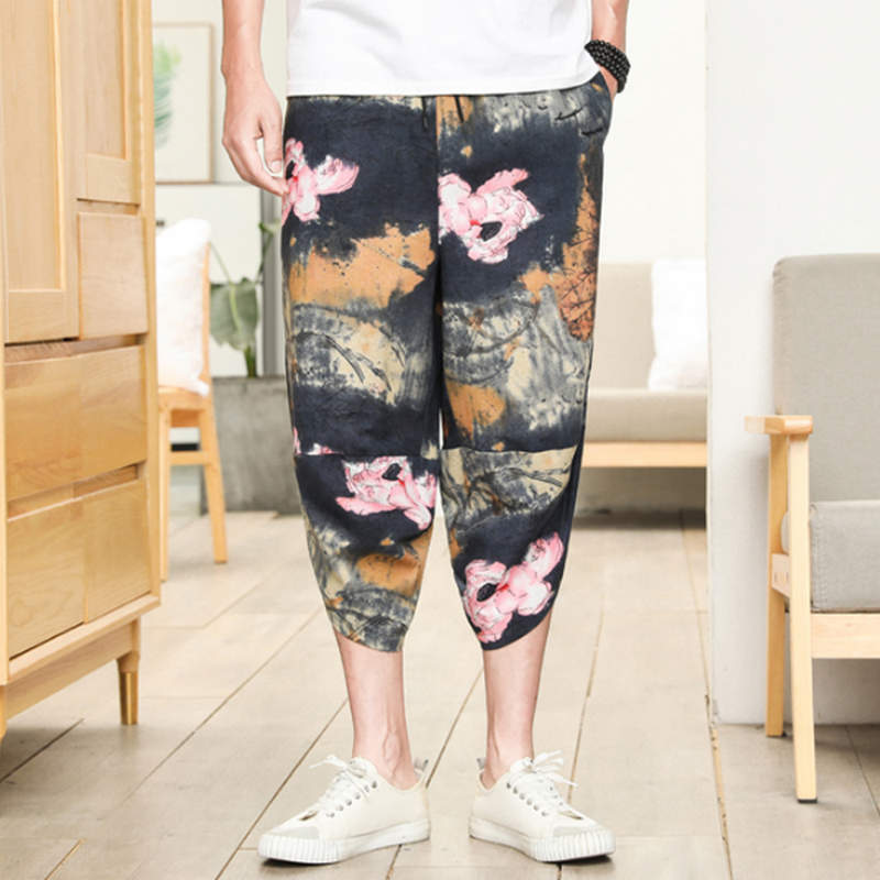 Punk Street Star Male Cross Pants Low Rise Lantern Pants Men Ultralarge Harem print Pants Hiphop Jogger Trousers harem pants