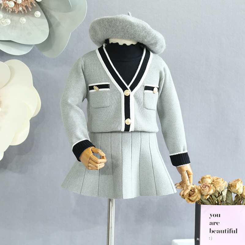 Children's clothes Girls' Set 2018 Autumn New Girls Knit Cardigan Jacket with Pleated Skirt Two-Piece Set