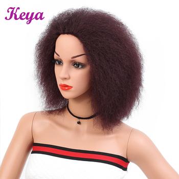 Keya krótkie Afro peruki z włosami kręconymi i prostymi 6 Cal puszyste peruki wysokiej temperatury włókna syntetyczne plecione peruki dla czarnych kobiet tanie i dobre opinie 1 sztuka tylko Kinky prosto