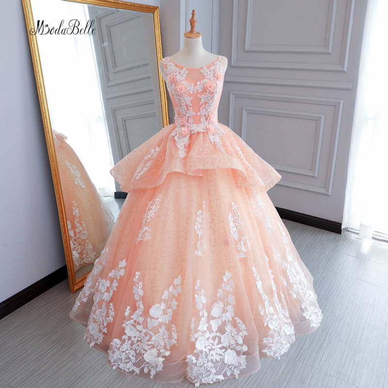 Modabelle Long Puffy Coral Lace Flower Prom Dresses Floral