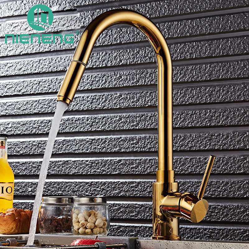 Nieneng Promotion Luxury Gold Color Brass Kitchen Faucet Water Mixer Sprayers Swivel Spout Golden Basin Faucet Pull Out ICD60379 antique brass swivel spout dual cross handles kitchen
