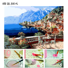 Painting Lakeside Town City Pictures By Numbers On Canvas Framed Wall Art For Living Room Home Decor Artwork