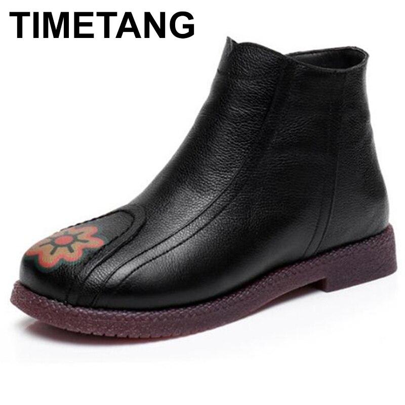 TIMETANG Genuine leather flat heel women boots big Size 42 43 Round head winter women s