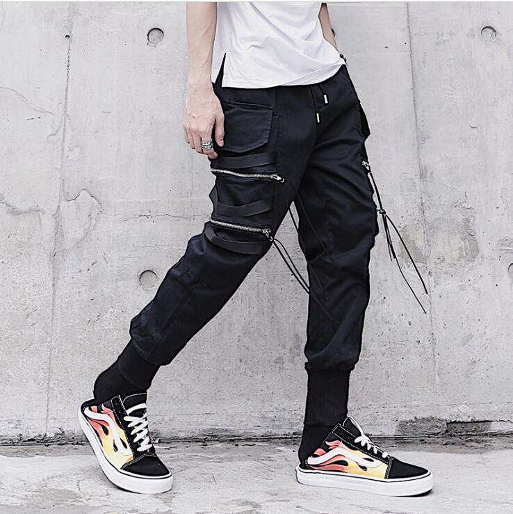 Moda Estilista Cinta De Oscuro Negro Casual Cremallera Otoño Carga Slacksspring Pantalones Clubwear Bolsillo Los Hombres Calle adndYHr