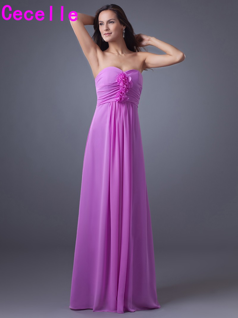 Lilac Chiffon Beach Long Bridesmaid Dresses 2019 Sweetheart Formal Wedding Party Dress A-line Country Western Bridesmaid Robes