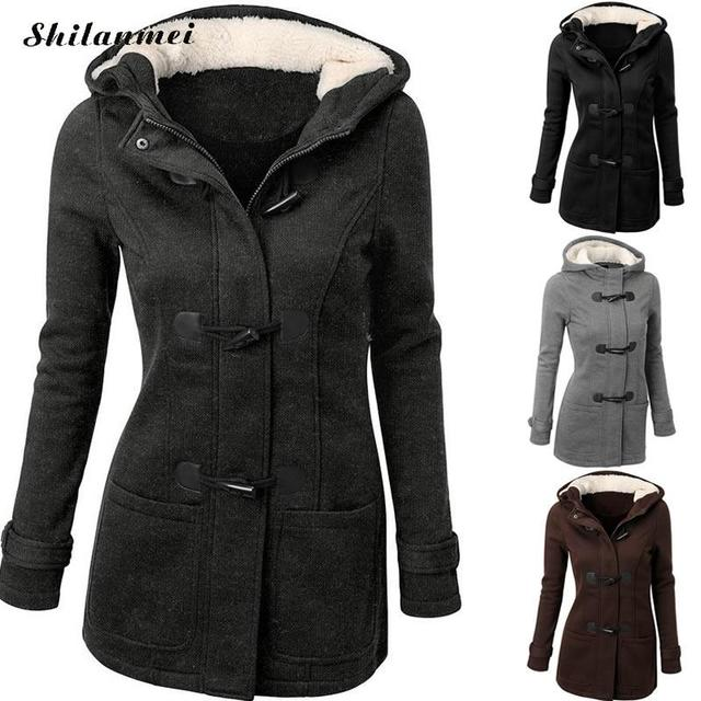Women Basic Coat 2017 Autumn Winter Women's Overcoat Female Long Hooded Coat Zipper Horn Button Outwear navy peacoat women