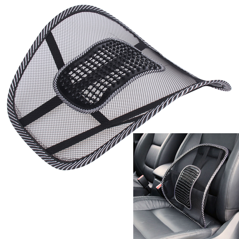 Car Seat Cover Comfort Massage Seat Cushion Steel Wire Mesh Lumbar Support Office Chair Back Waist Brace Pad Auto Accessories