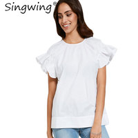 Singwing verano ruffle manga color blanco blusa Manga corta tipo suelto mujeres Tops o-cuello Flare manga Camisas superior