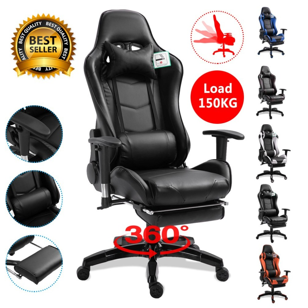 Ergonomique Inclinable fauteuil de course Confortable chaise de bureau d'ordinateur 360 Degrés Renouvelable Gaming Inclinable Fauteuil avec repose-pieds