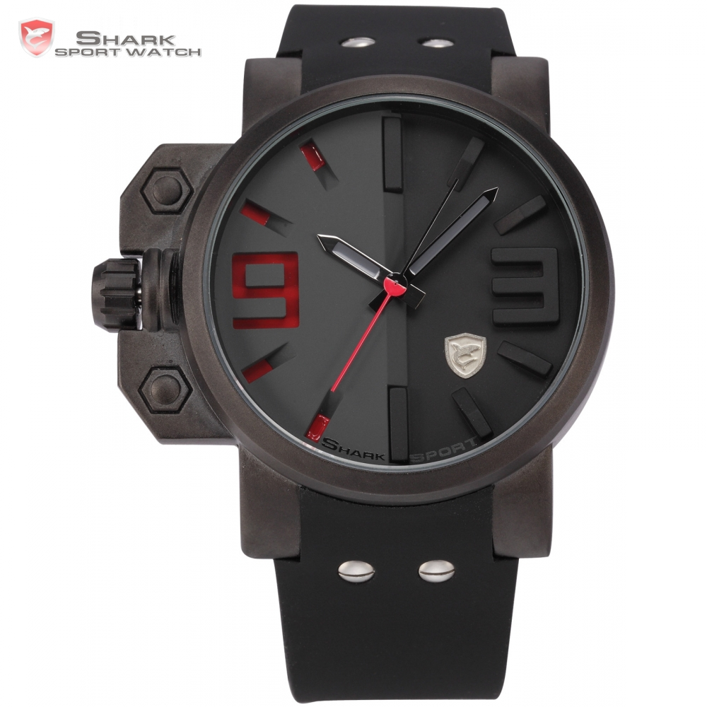 Brand Salmon SHARK Sport Watch Mens Stainless Steel Case Black Red Japan Movement Rubber Band Luxury