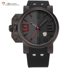 Marca salmón shark sport reloj para hombre caja de acero inoxidable negro Red Rubber Band Cuarzo Hombres de Lujo del Movimiento de Japón Relojes/SH172