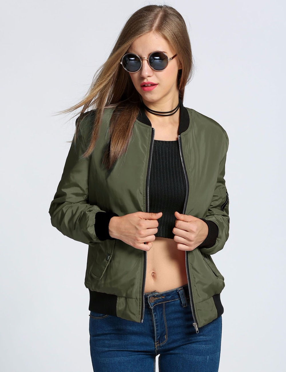 223cff486 US $25.46 |New Spring Autumn Women Basic Coat Female Bomber Pilot Baseball  Jacket Lady Long Sleeve Outerwear Clothing Clothes Manteau Femme-in Basic  ...