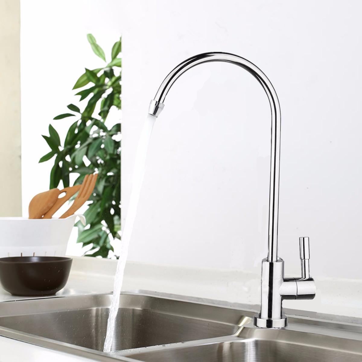 1/4 Inch Connect Hose Water Filter Faucet Chrome Plated Reverse Osmosis Filters Parts Purifier Direct Drinking Tap Kitchen