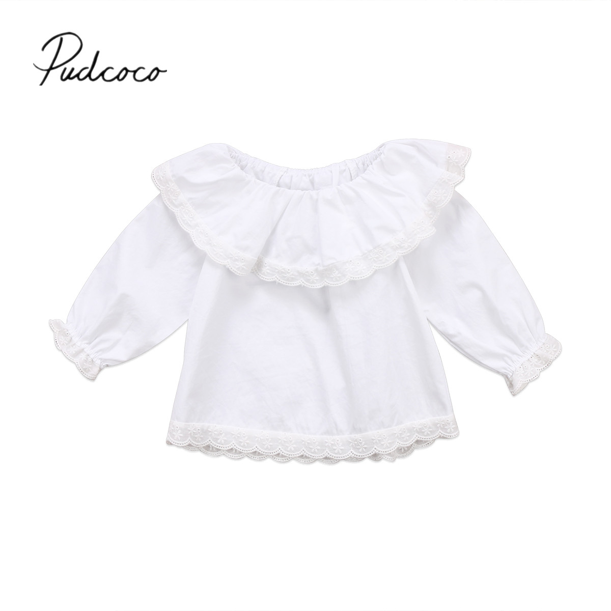2017 Brand New Newborn Toddler Infant Baby Girls Lace Long Sleeve Tops T-shirts Clothes Solid White Sweet Tops Shirt 0-24M