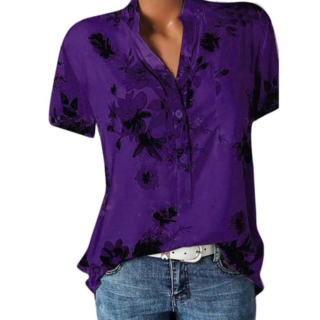 Elegant women's shirt printing large size casual shirt fashion V-neck short-sleeved shirt blouse 6