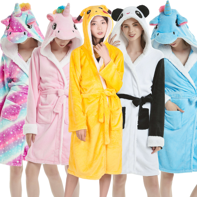 Adults Animal Flannel Bath Robe Sleepwear Women Men Bathrobe Nightgown Thick Warm Robe Winter Unisex Panda Unicorn Plush Pajamas