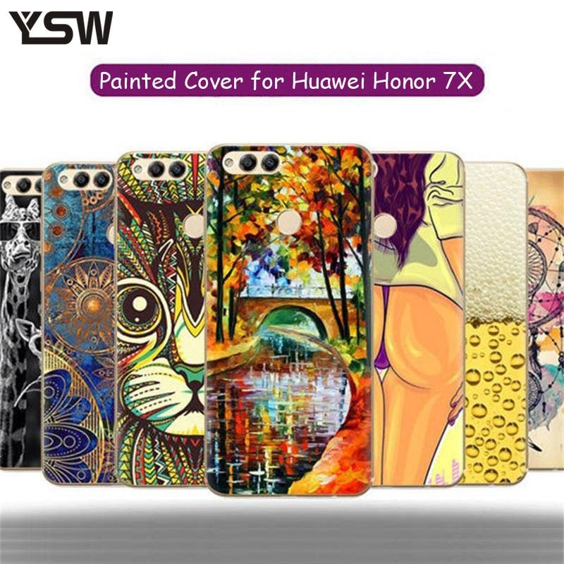 Galleria fotografica YSW Per Huawei <font><b>Honor</b></font> <font><b>7X</b></font> Custodia Morbida di TPU Del Fumetto Colorato Squisita Copertura di Caso del Modello Del Telefono dipinta Per Huawei <font><b>Honor</b></font> 7 X Conque