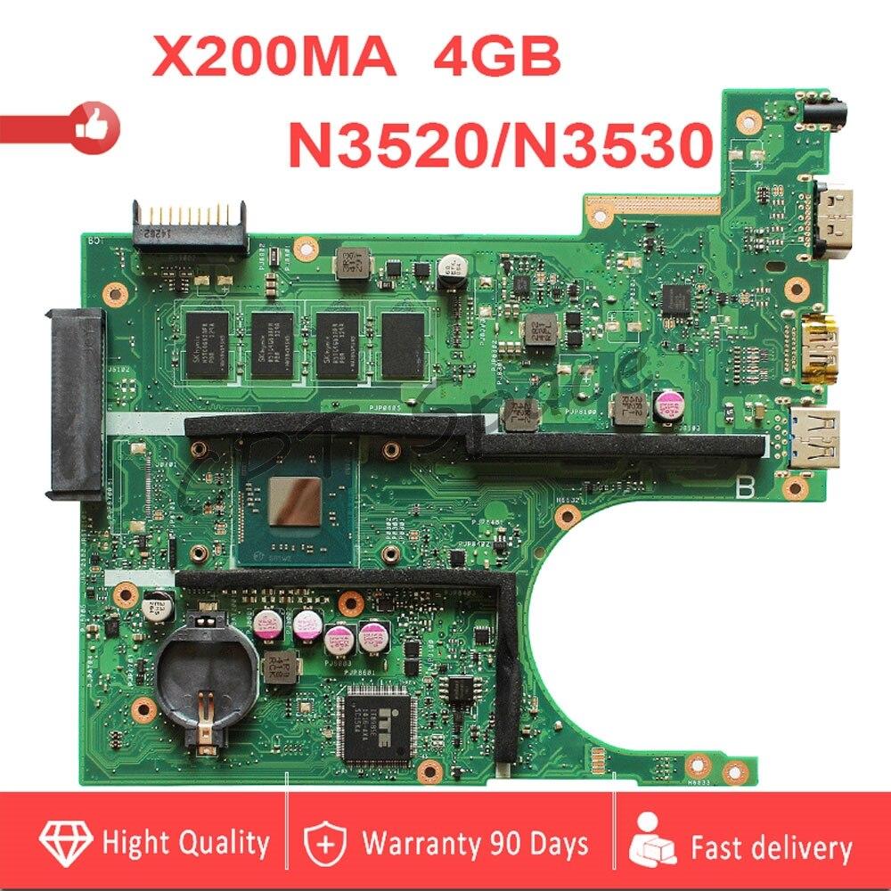 4GB RAM X200MA N3520 N3530 For ASUS X200MA K200MA F200MA X200M Laptop Mainboard X200MA Motherboard 100