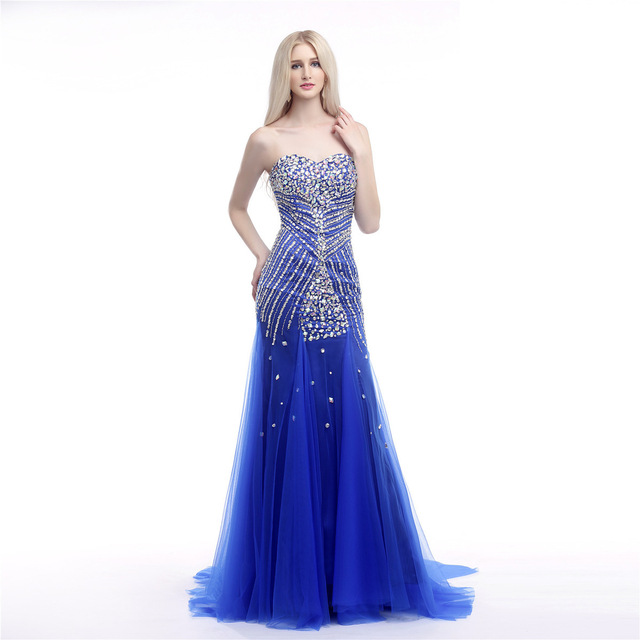 Blue 2018 Prom Dresses Mermaid Sweetheart Tulle Crystals Luxurious Long Elegant Prom Gown Evening Dresses Robe