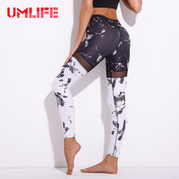UMLIFE Women Sexy Yoga Pants Printed Floral Sport Leggings Fitness Mesh Patchwork Running Tights Elastic Gym Trousers Sportswear