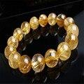 13.5mm genuine natural ouro amarelo rodada beads moda jóias pulseiras titanium cristal de quartzo rutilado pulseira trecho