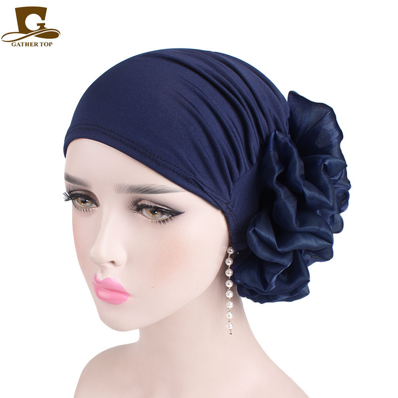 New Big Flower Women Turban Hat Muslim Headscarf Pile Heap Cap Women Soft Comfortable Hijab Caps Islamic Chemotherapy Hat