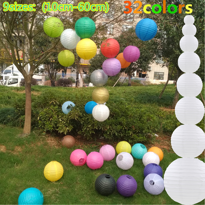 1pc Round Chinese Paper Lantern Birthday Wedding Party decor gift craft DIY lampion white hanging lantern ball party supplies