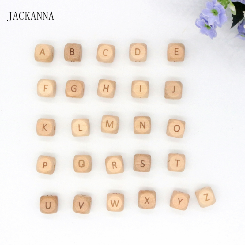 100PCS 12mm Square Engrave Wood Teether Beads Wooden Alphabet Beads Teething Bijtring Toys DIY Accessories Chewable Baby Product
