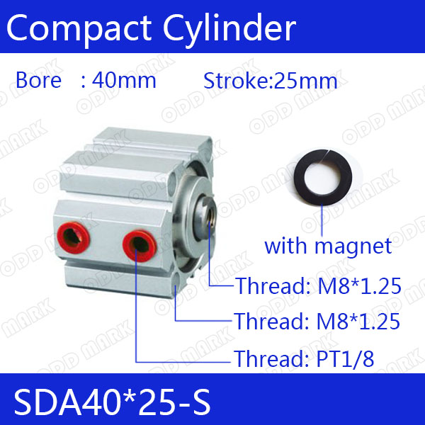 SDA40*25-S Free shipping 40mm Bore 25mm Stroke Compact Air Cylinders SDA40X25-S Dual Action Air Pneumatic Cylinder sda40 20 s free shipping 40mm bore 20mm stroke compact air cylinders sda40x20 s dual action air pneumatic cylinder