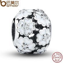 925 Sterling Silver Darling Daisy Meadow White Enamel Flower Floating Charm Fit Bracelet Primrose Flowers Bead PAS037(China)