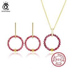 ORSA JEWELS 925 Sterling Silver Women Necklaces+Earrings Round Pendant Red Black Stone Hoop Earring Gold-color Jewelry Set OSS34 orsa jewels 925 sterling silver pendant necklaces top quality shell pearl necklace rose gold color silver women jewelry osn151 r