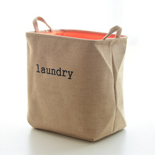 Large Laundry Basket Cotton Linen 40*36*26 cm Thicken Box Folding Storage Basket For Toy Book Organizer Hanging Storage Bucket