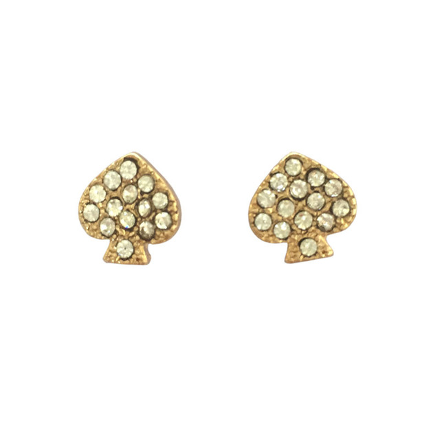 Gold Small Pave Cz Crystal Heart Earrings Studs Fashion Famous Brand Kate New York Jewelry 2017