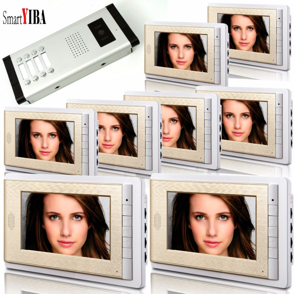SmartYIBA Video Intercom 7''Inch LCD Wired Video Door Phone Doorbell Speakerphone Intercom Camera Monitor System For 8 Units 7 inch video doorbell tft lcd hd screen wired video doorphone for villa one monitor with one metal outdoor unit night vision