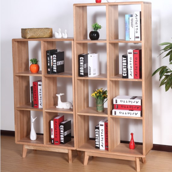 Japanese Style Solid Wood Bookcase Display Cabinet White