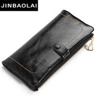 JINBAOLAI 2017 Genuine Leather Women Wallet Long Purse Classic Solid Cowhide Multiple Cards Holder Clutch Fashion