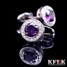 KFLK Luxury small shirt cufflinks for women Gifts Brand cuff buttons purple Crystal links Designer Jewelry