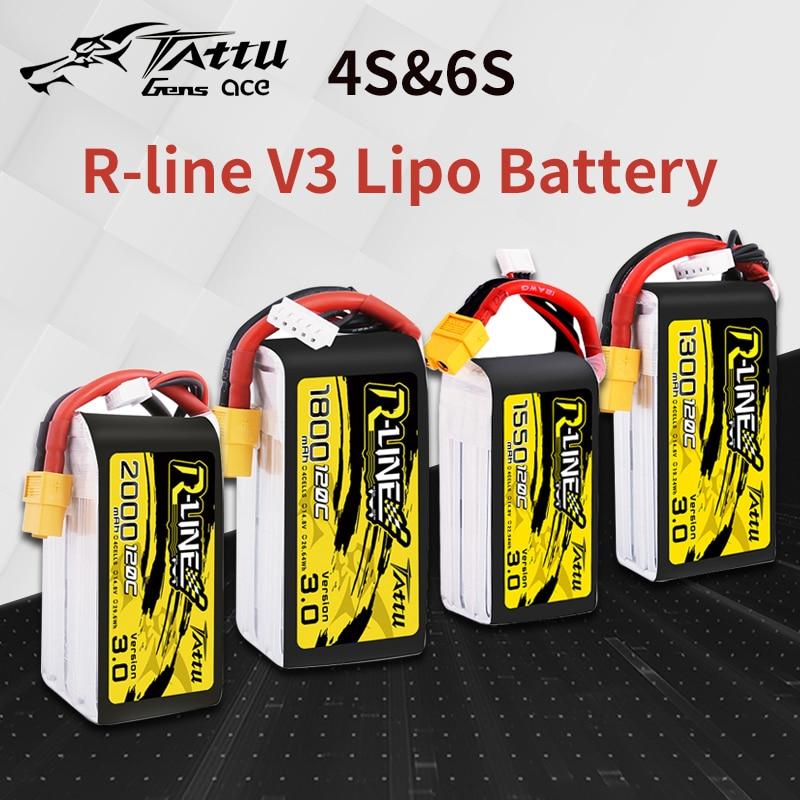 TATTU R-Line Version 3.0 V3  4S 6S 1300/1550/1800/2000mAh 120C 14.8V Lipo Battery With XT60 Plug For FPV Racing Drone Quadcopter