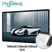 ThundeaL 16:9 100 120 150 Inch Projection Projector Screen Portable Canvas Matt White 3D HD Home Theater Wall mounted Ironing
