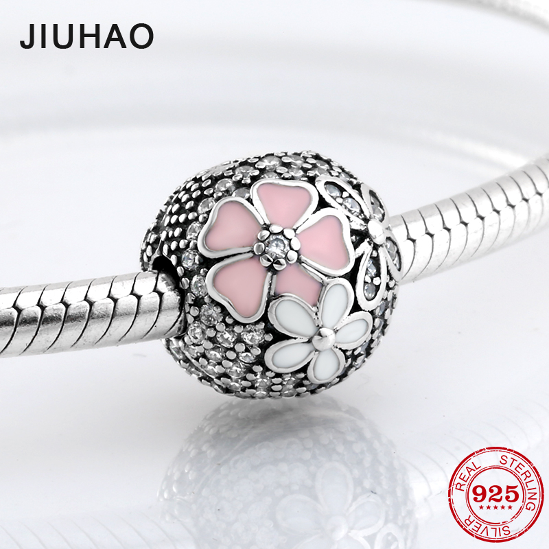 New 925 Sterling Silver Pink white Enamel flower Sparking CZ Lock clips beads Fit Original Pandora Charm Bracelet Jewelry making