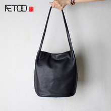 AETOO The first layer of leather leather Japanese leather arts handbag leather simple shoulder bag satin children's shopping bag