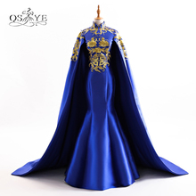 Royal Blue Long Mermaid Evening Prom Dresses 2018 New Arrival High Neck Gold Lace Embroidery Satin Formal Evening Gown