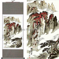 1 piece Free shipping Unique Chinese Scrolls Art Silk Landscape Paintings For Sale size L 40 x W 12 inch