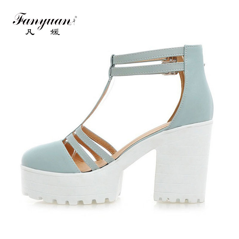 ФОТО 2017 Hot Spring Summer Women Ankle T Strap Thick High Heels Sweet Pumps Platform Ladies Cover Toe Pumps Rome Shoes Plus Size 46