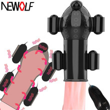 Rechargeable Sex Toys for Men Penis Massager with 5 Vibrators Male Masturbator Delay Lasting Glans Trainer Glans Vibrator Q102