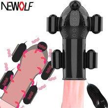 Şarj edilebilir seks oyuncakları erkekler için Penis masaj 5 vibratörler erkek Masturbator gecikme kalıcı Glans eğitmen Glans vibratör Q102