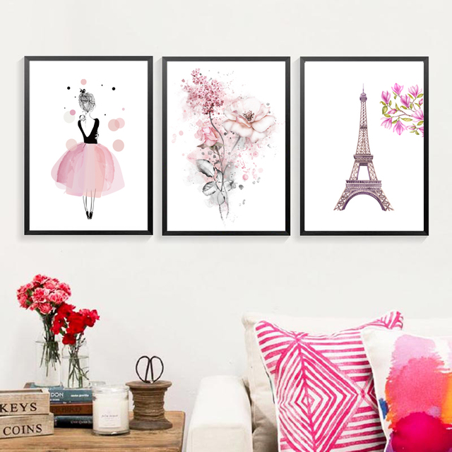 Watercolor Pink Flowers Eiffel Tower Canvas Paintings Girls Wall Art Poster Birthday Gifts Nordic Pictures Kids
