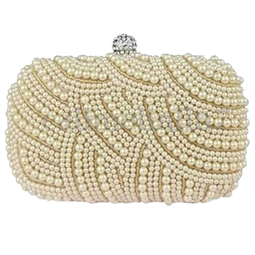 Fashion Boutique Ladies Beaded Party Prom Bridal Clutch Bag Purse Wedding Evening Handbag, cream color