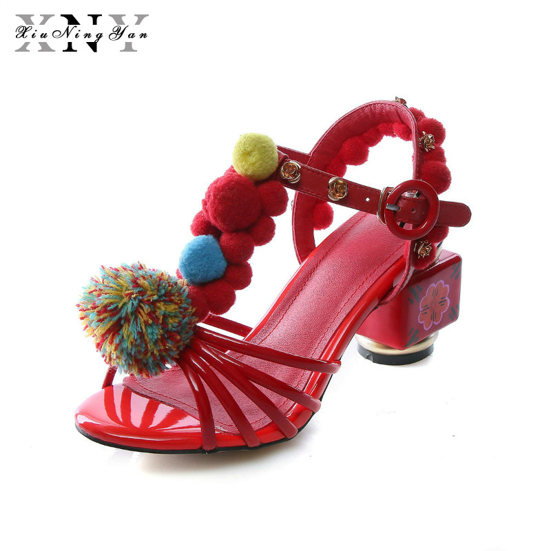 XiuNingYan Women Embellished Sandal with Ball and Hand Painted Heel Sandal Black Red Size 34 43