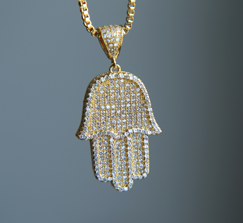 2017 high quality hip hop bling box chain 24 women Men couple gold silver color iced out Hamsa hand pendant necklace with cz